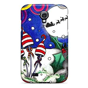 KYb2608GJJX Case Cover Trippy Xmas Shrooms Galaxy S4 Protective Case