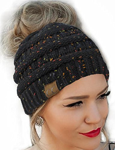 FENGGE Messy Bun Hat   Quality Knit Soft Stretch Winter Warm Cable Knit Fuzzy Lined Ear Warmer HeadbandBlack Flecked