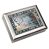 """I Can Do All Things Through Him"" Philippians 4:13 Religious Decorative Jewel Lid Musical Music Jewelry Box Plays On Eagle's Wings"