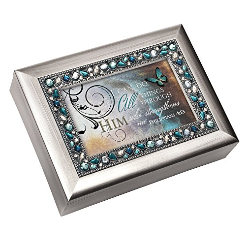 Cottage Garden I Can Do All Things Through Him Philippians 4:13 Religious Decorative Jewel Lid Musical Music Jewelry Box Plays On Eagle's Wings ()
