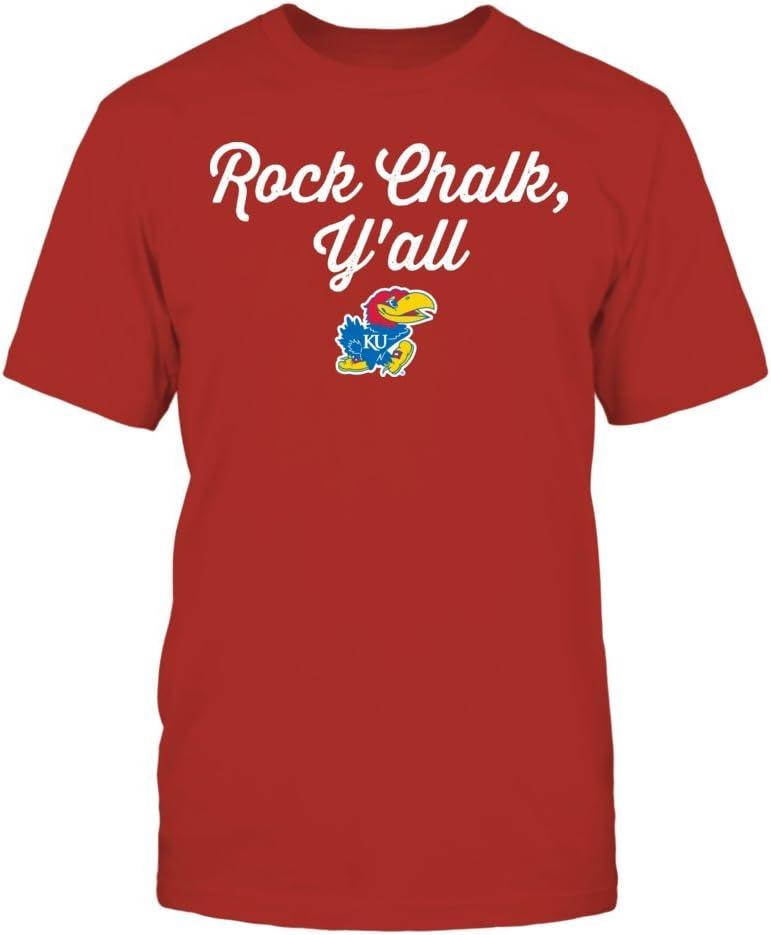 FanPrint Kansas Jayhawks T-Shirt - Rock Chalk Y'all - Ku Officially LicensedT-Shirt