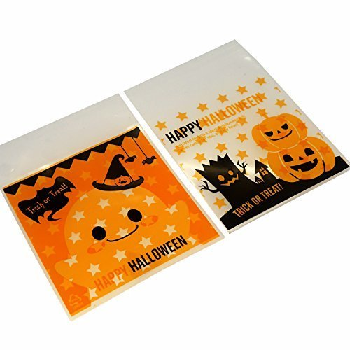 Halloween Treat Bags for Cookie, Candy, Chocolate, 10x10cm, Pack of 95, Pumpkin & Ghost Design (Black And Orange Halloween Cookies)