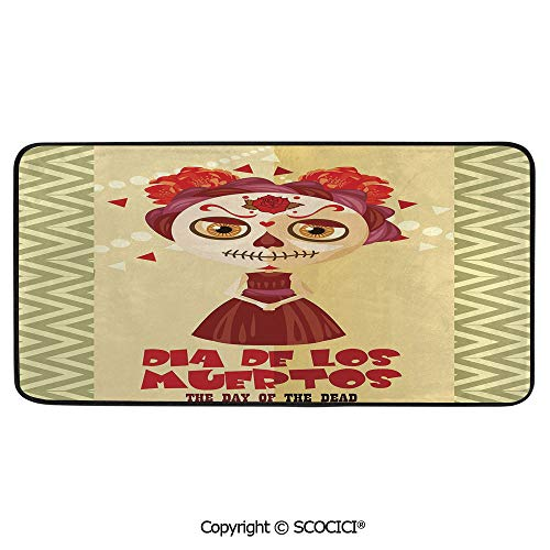 Rectangle Rugs for Bedside Fall Safety, Picnic, Art Project, Play Time, Crafts, Large Protective Mat, Thick Carpet,Day of The Dead Decor,Spanish Dia de Los Muertos Print Girl with,39
