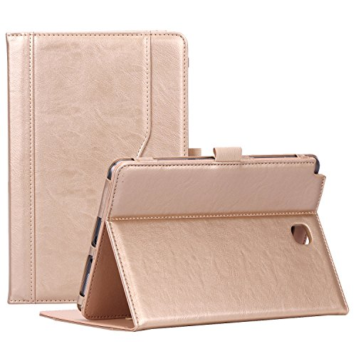 ProCase Samsung Galaxy Tab A 8.0 Case, Standing Cover Folio Case for 2015 Galaxy Tab A Tablet (8.0 Inch, SM-T350 P350), with Multiple Viewing Angles, Document Card Pocket - Gold