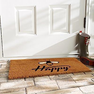 """Calloway Mills 101231729 Bee Happy Doormat, 17"""" x 29"""" Natural, Black"""