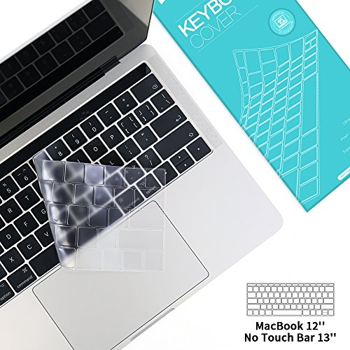 """Premium Keyboard Cover Macbook Keyboard Skins Ultra Thin TPU Keyboard Protector for Macbook 12"""" New Pro 13"""" NO Touch Bar 2016/2017 Release,Apple Model A1708 A1534 (Clear)"""
