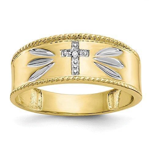 10k Yellow Gold Satin Rhodium Polished Open back Sparkle-Cut .01ct. Diamond Trio Mens Cross Wedding Band Ring