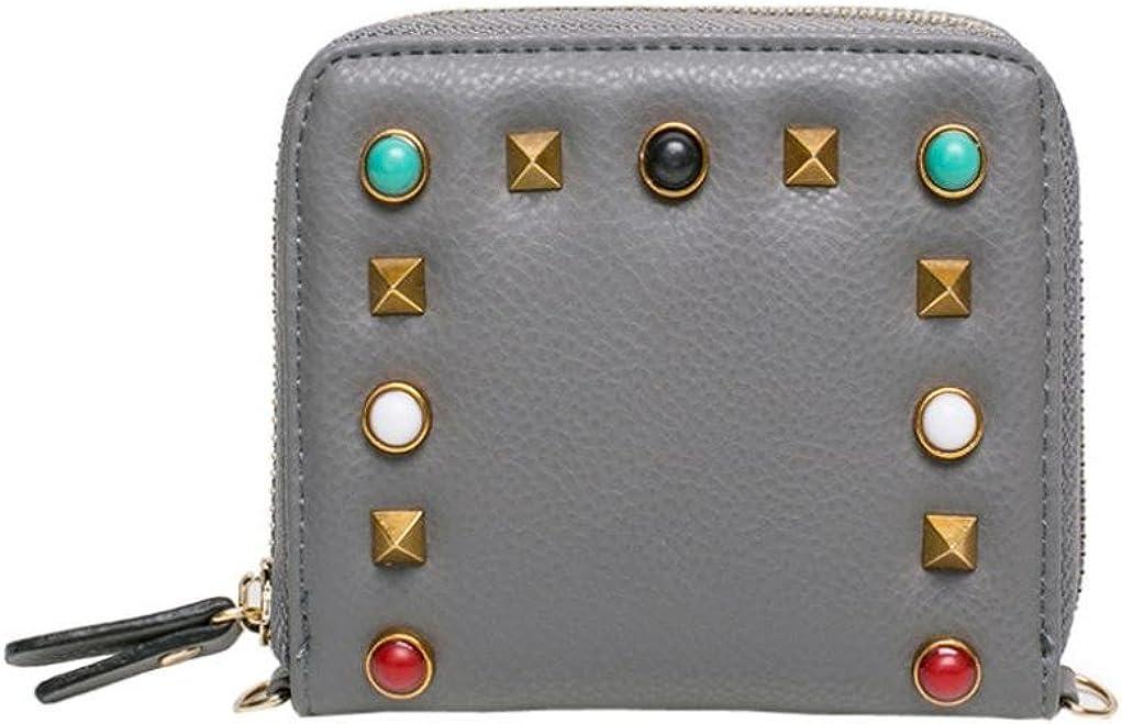 Womail Women Rivet Short Wallet Card Coin Holder Clutch Handbags Gray