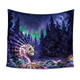 YCRD Tapestry Wall Coverings (Bedspreads) Wall-Mounted Picnic Beach Towels Sheets Blankets Animal Wolf Print Colorful Tapestry, 150×130cm