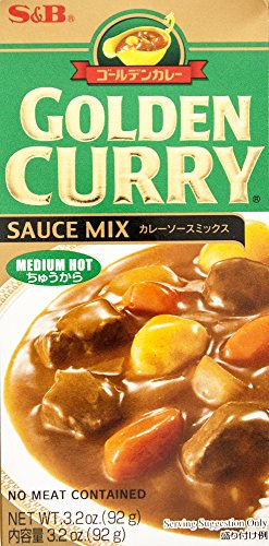 S & B Golden Curry Sauce Mix, Medium Hot, 3.2 oz