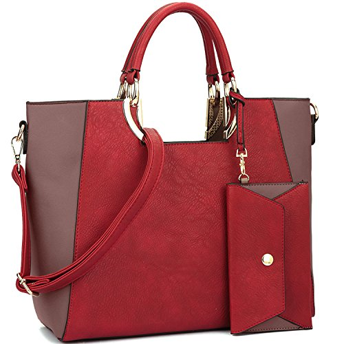 Large Designer Two Purse Wallet Structured Handbag Tone w Matching Tote Womens Bag Shoulder Red Satchel q8AdHxq