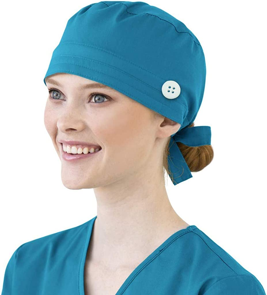 Details about  /Medical Scrub Cap Surgical Hat Unisex w Buttons Ear Saver First Aid Nurse Print