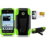 LF 4 in 1 Bundle - Hybrid Dual Layer Case with Kickstand, Lf Stylus Pen, Screen Protector and Wiper for (Straight Talk , Net10 , T-Mobil) Huawei Inspira H867G / Prism 2 II U8686 (Stand Green)