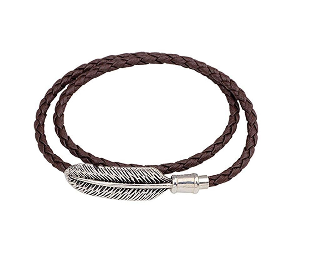 DVANIS Men Women Braided Leather Bracelet Vintage Alloy Feather Bangle Magnetic Clasp Wristband