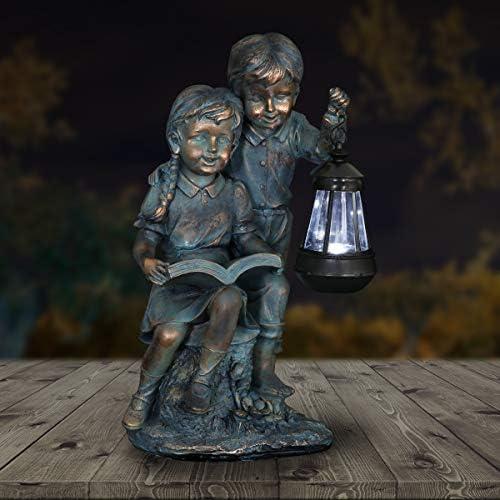 Exhart Boy Girl Statue Faux Bronze Statue w/Solar Garden Light