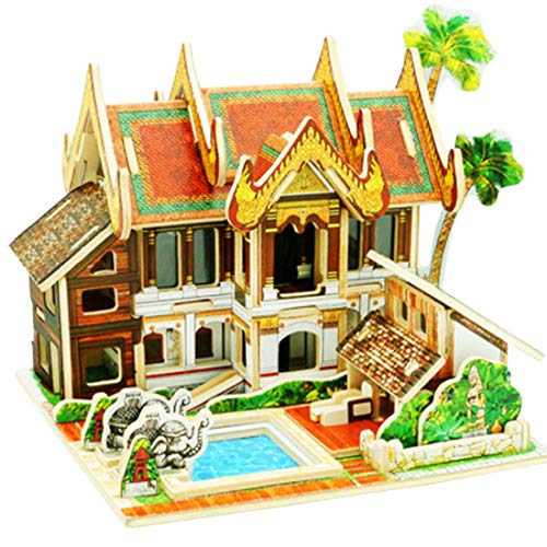 HMANE World Style 3D DIY Assembly Wooden Puzzle House Game Miniature Architectural Model Educational Toy (Thailand Resort Hotel ()