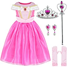 Sleeping Beauty Princess Aurora Costume Girls Birthday Party Dress Up With Accessories Age 4-10 Years