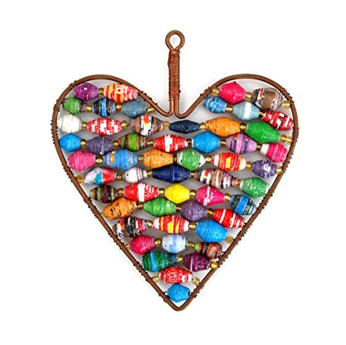 Recycled Paper Bead Heart Fair Trade Ornament