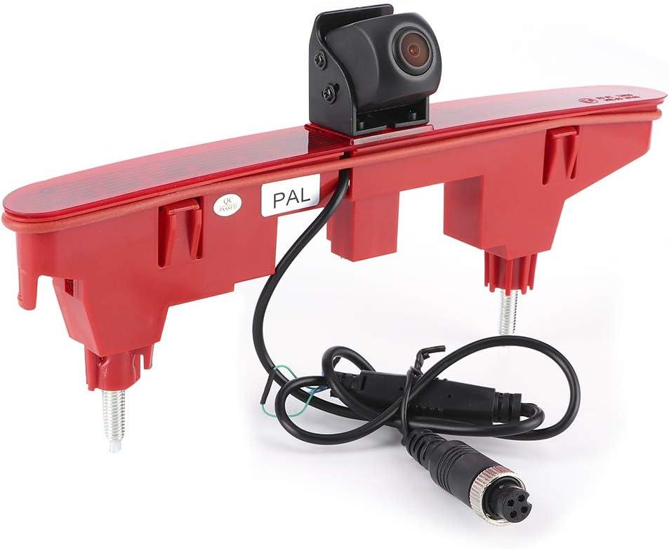 Qiilu Videocamera per retrovisione con luce freno, Videocamera per parcheggio con luce di stop per monitoraggio della retromarcia di ottima fattura
