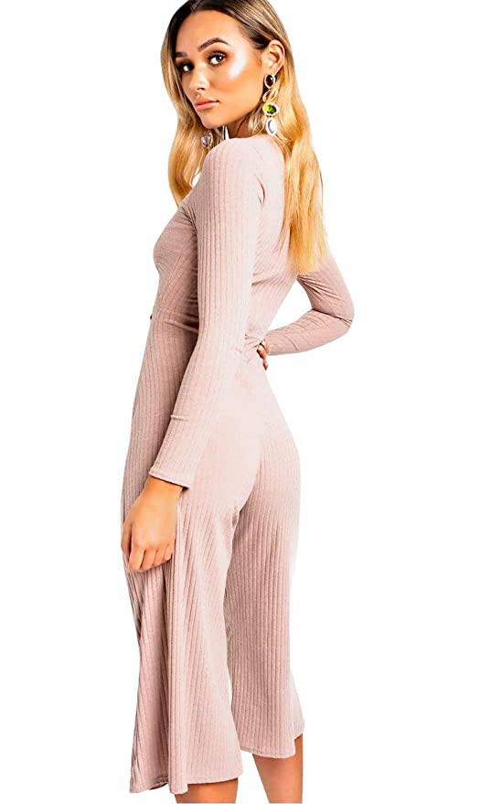 58e891ced3b Ikrush Womens Kansas Knot Front Wide Leg Jumpsuit Pink  Amazon.co.uk   Clothing
