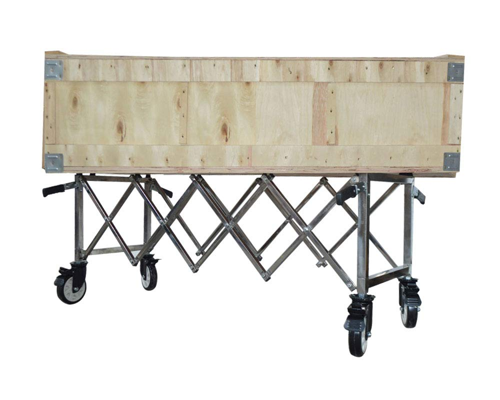 TECHTONGDA Folding Coffin Cart Casket Truck Church Funeral Mortuary Trolley Stainless Steel