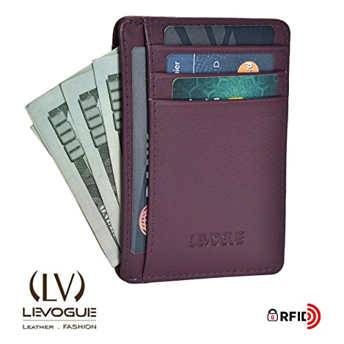Genuine COW NAPPA SOFT Leather Handcrafted RFID blocking Mens Front Pocket Minimalist Wallet Slim Leather Wallet with Gift Box For Men and Women-100% Full Grain Cow Leather by LEVOGUE
