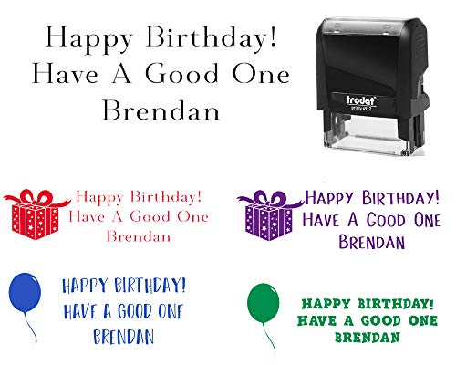Happy Birthday Card Stamp Pick Your Font + Image Office Stamp 2 line 3 line Self Inking Birthday Card Custom Personalized Customized Stamp Stamper -