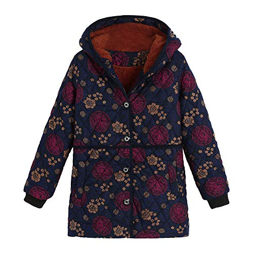 Floral Print Coats, Womens Hooded Outwear Pockets Jacket Vintage Oversize Outwear Winter Warm
