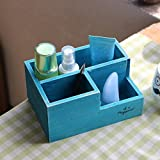 Chris-Wang Multifunctional 3-Compartment Wooden Desktop Office Supply Caddy/Pencil Holder/Desk Mail Organizer/Succulent Plants Planter(Blue)
