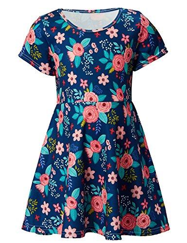 RAISEVERN Toddler Girl's Dress Cute Rose Print Short Sleeve Swing Skirt Casual Blue Dress for Kids 2-3 ()