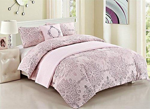 5-Piece Set: Luxury Bedding Ensemble with Comforter and Quilted Bedspread - King Pink (Ensemble Comforter 5 King Piece)