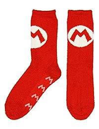 Nintendo Super Mario Cozy Mario Logo Adult Crew Socks