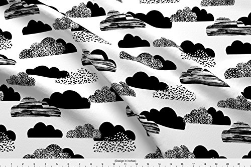Fabric Organic Twill - Spoonflower Black and White Fabric - Baby Kids Leggings Texture Ink Organic Kni by Charlottewinter Printed on Lightweight Cotton Twill Fabric by The Yard