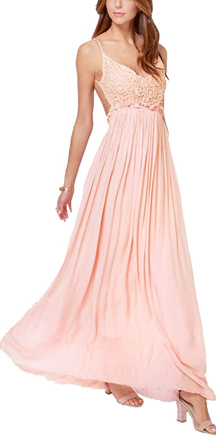 Pink chiffon maxi dress with sleeves