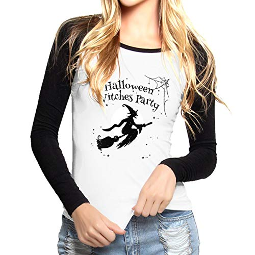Ride Your Heart Halloween Witches Party Women Catton Long Sleeve Baseball Tops Crew Round Neck,Ladies Baseball -