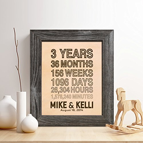 Personalized 3rd Leather Anniversary Gift for Him or Her,