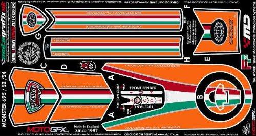 (MOTOGRAFIX (Moto graphics) body pad TANK / FRONT FENDER KIT Orange / Tricolore MONSTER S2 [monster] MONSTER S4 / S4R / S4RS [Testastretta] MONSTER695)