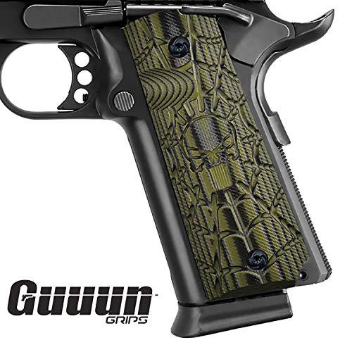1911 Handgun Grips - Guuun 1911 Grips Full Size Commander Government Pistol Grips, Custom Cobweb Skull Texture G10 Material Ambi Safety Cut Gun Grip