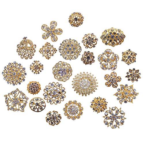 L'VOW Silver/Gold Color Sparking Wedding Bridal Crystal Brooch Bouquet Kit Pack of 10 (Gold) ()