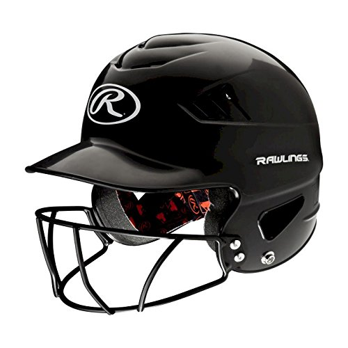 Rawlings Coolflo NOCSAE Molded Batting Helmet with Face Guard, Black, One Size (Batters Guard Baseball)