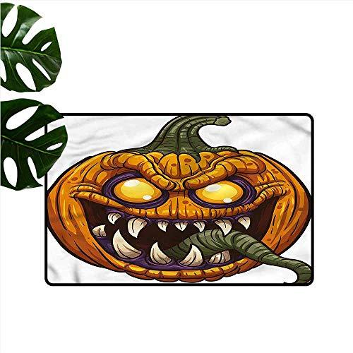 DUCKIL Interior Door mat Halloween Scary Pumpkin Monster Non-Slip Door mat pad Machine can be Washed W16 - Slip Monster Oval