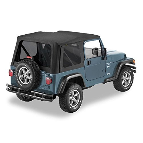 Hardware Top Soft (Pavement Ends by Bestop 51148-35 Black Diamond Replay Replacement Soft Top Tinted Windows; No door skins included for 1997-2006 Jeep Wrangler)
