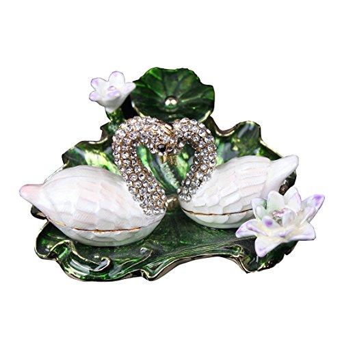 Bejeweled Trinket Box 2 Swans on Lotus Leaf Swans on Lotus Leaf and Flowers Bejeweled Trinket Jewelry Box (Box Swan Trinket)