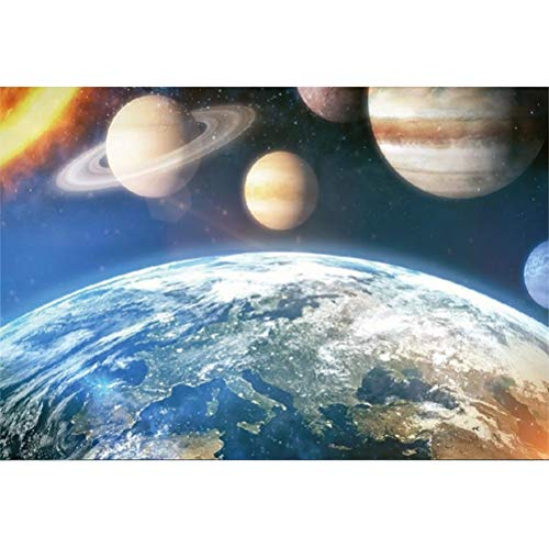 Laeacco Vinyl 10x8ft Beautiful Earth Aerial View Universe Photography Background Hot Sun Various Planets Solar System Backdrops Children Adults Portrait Shoot Boys Outer Space Theme Party Banner