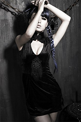 chinesisches Schwarzes rmel Gr 5 Fitting Slim Kleid Kniel Kurze Damen nge Abendkleid Kleid en Qipao Gothic Cheongsam 48w0Bx