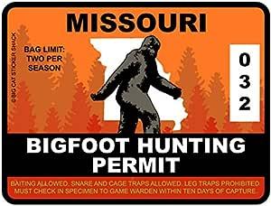 Bigfoot Hunting Permit - MISSOURI (Bumper Sticker)