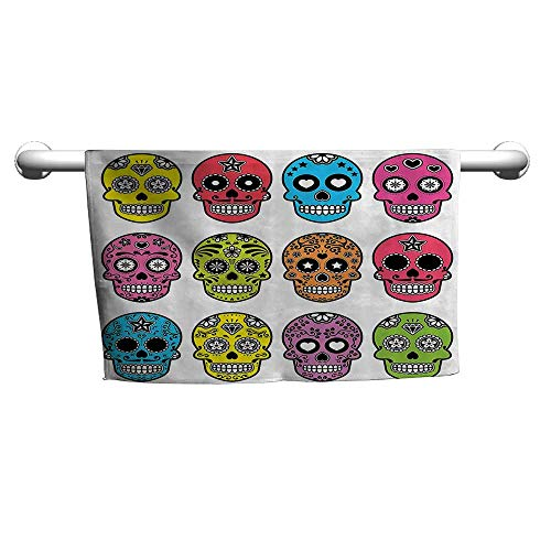 Andasrew Floral Hand Towels Skulls Decorations Collection,Ornate Colorful Traditional Mexian Halloween Skull Icons Dead Humor Folk Art Print,Multi,Shammy Towel for car -