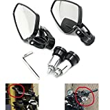 """Alpha Rider CNC Aluminum 7/8"""" 22mm Handle Bar End Rear View Side Mirrors 360 Degree Adjustable for KTM 1190 RC8 R Akrapovic Limited Edition/ RC8 R Red Bull Limited Edition 2010 Black"""