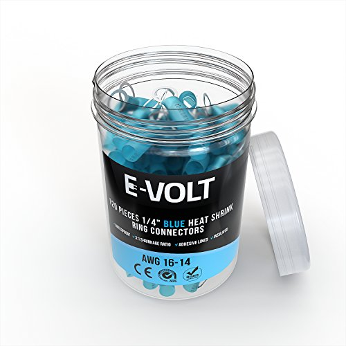 120 PC 1/4'' Blue Heat Shrink Ring Crimp Connectors: 16-14 Gauge Bulk Electrical Terminals - Insulated 16 14 AWG Automotive, Marine, Audio, and Industrial Grade. Hot Melt Adhesive Eyelet Splice Jar Set by E-VOLT (Image #3)