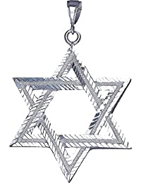 """<span class=""""a-offscreen"""">[Sponsored]</span>Sterling Silver Star of David Pendant Necklace with Diamond Cuts 24"""" Figaro Chain"""